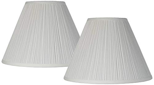 Antique White Pleated Lamp Shade Set of 2 Traditional 6.5x15x11 (Spider) - ()