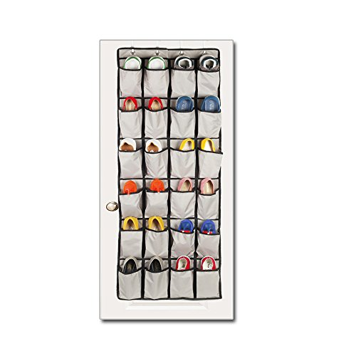 24 Pockets - OVER THE DOOR SHOE RACK and Closet Organizer System for Maximizing Storage,4 Customized Over the Door Hooks - Behind Door Hat Rack