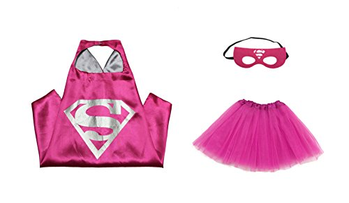 [Rush Dance Kids Children's Deluxe Comics Super Hero CAPE & MASK & TUTU Costume (Hot Pink Supergirl (Hot Pink] (Supergirl Costumes Pink)