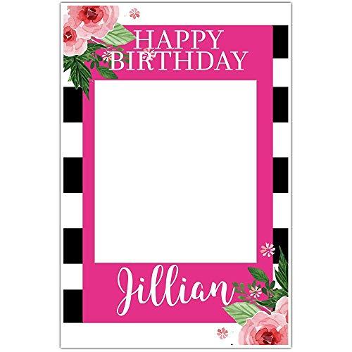 Black and White Striped Floral Selfie Frame Social Media Frame Photo Booth Prop Poster
