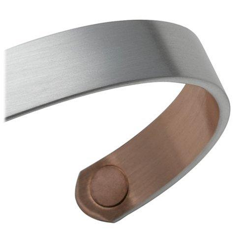 Sabona Brushed Silver Original Copper Magnetic Bracelet, Size Medium