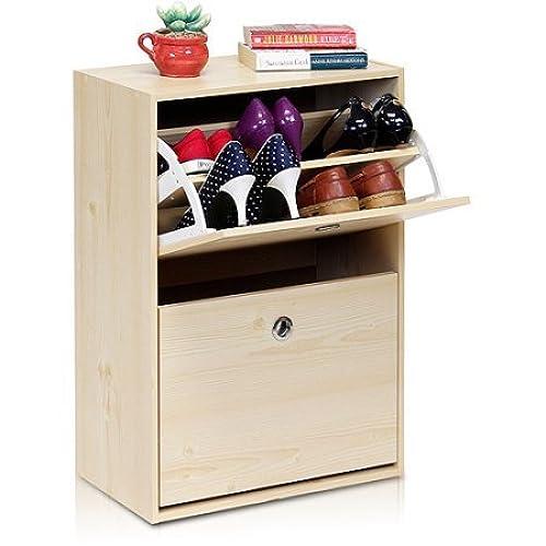 Furinno FNAJ 11047 3 Rubik 2 Door Shoe Cabinet, White Maple