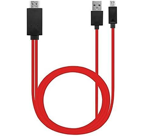 Yubohai - Cable adaptador de HDMI a HDMI 1080P HDTV (conector micro USB a HDMI, para Samsung Galaxy S3/S4/S5/Note 3) rosso: Amazon.es: Electrónica