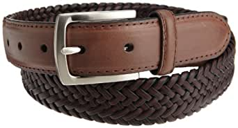 Dockers Mens 30mm Tubular Stretch Braided Belt, Brown, 32