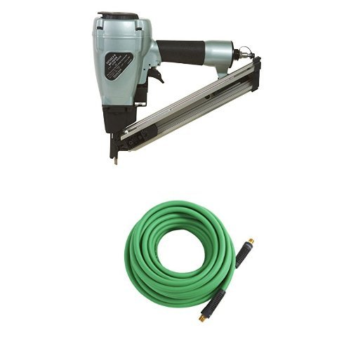 Hitachi NR38AK 1-1/2 inch Strap-Tite Fastening System Strip Nailer and Air Hose, 1/4 inch x 50