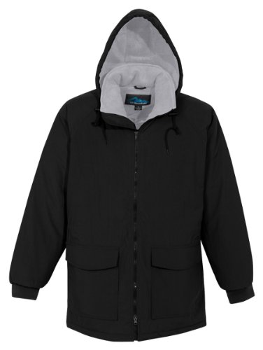 Tri-mountain Nylon hooded parka with fleece lining. 9900 - BLACK / GRAY_6XLT - Fleece Heavyweight Parka