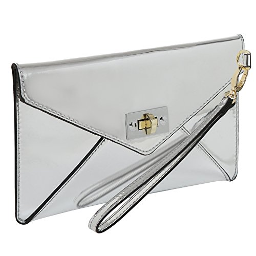 - MG Collection Modern Mirror Silver Wristlet Clutch/Envelope Wallet Purse