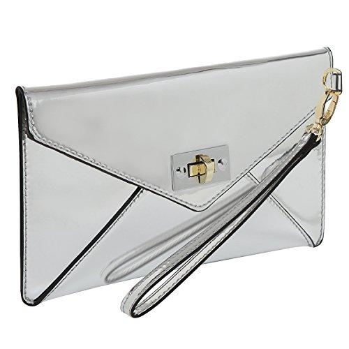 MG Collection Modern Mirror Silver Wristlet Clutch / Envelope Wallet Purse - Ultra Suede Clutch