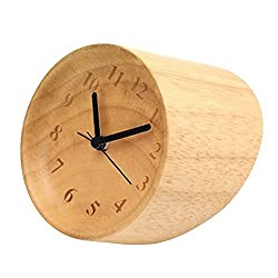 Happy Hours - Natural Wooden Compact Desk Clock / Creative Numbers Engraved Raised Bezel Dial Plate Silent Quartz Clock / Chic Villa Minimalist Decor
