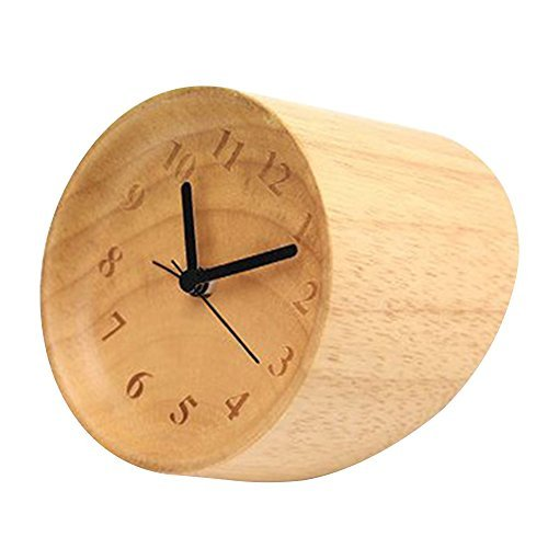 Happy Hours - Natural Wooden Compact Desk Clock / Creative Numbers Engraved Raised Bezel Dial Plate Silent Quartz Clock / Chic Villa Minimalist Decor