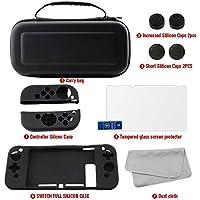 Kit Accesorios Estuche Portatil para Nintendo Swich 7 en 1, Funda Silicon Joy-Con y Consola, Mica Protectora de pantalla, Joy-Con Pulgar Grips, Paño de limpieza