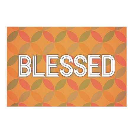 CGSignLab | ''Blessed II'' Repositionable Opaque White 1st Surface Static-Cling Non-Adhesive Window Decal (5-Pack) | 36''x24'' by CGSignLab