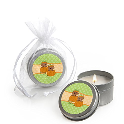 Big Dot of Happiness Twin Little Pumpkin African American - Candle Tin Fall Baby Shower Favors - Set of 12 ()