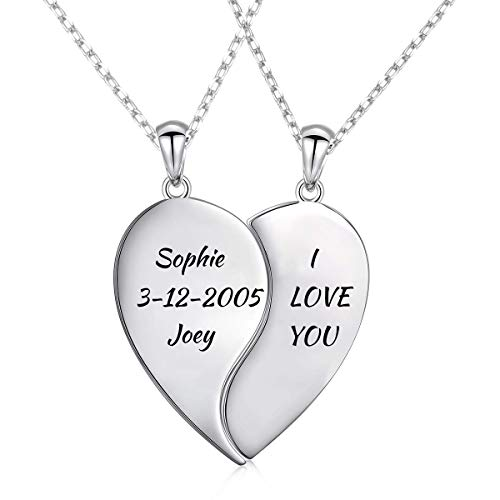 LONAGO Personalized Couple Name Necklace Matching Set Custom Engraved His and Hers Broken 2 Half Piece Heart Pendant Sterling Silver Two-Tone Puzzle for 2 (Broken Heart Necklaces)