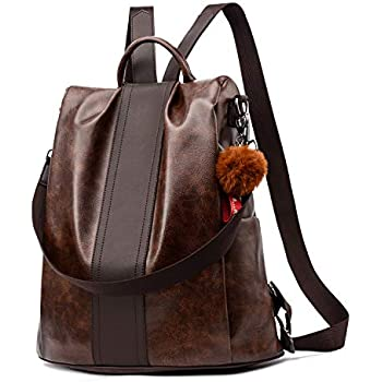 Women Backpack Purse PU Leather Anti-theft Backpack Casual Satchel Shoulder Bag for Girls (Brown Large)