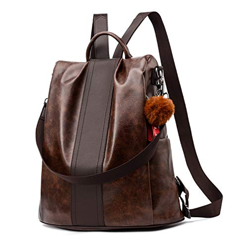 (Women Backpack Purse PU Leather Anti-theft Backpack Casual Satchel Shoulder Bag for Girls (Brown Large))