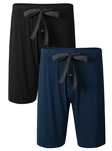 (Genuwin Mens Bamboo Rayon Sleep Shorts with Button Fly Drawstring 2 Pack Pajama Bottoms Sleep Bottoms S~XL (Black+Navy Blue, Large) )