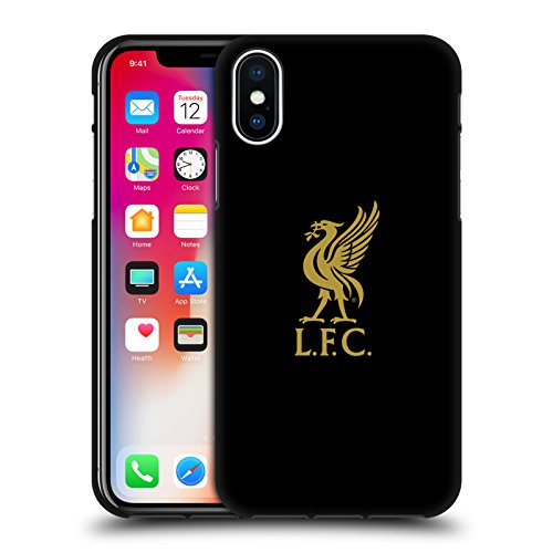 Official Liverpool Football Club Gold Logo On Black Liver Bird Black Soft Gel Case for iPhone X/iPhone Xs