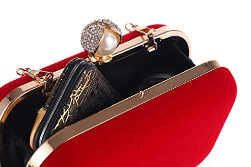 con Bolso Femenino de Mano la Elegante de Tamaño Terciopelo 5 de 5cm portátil Vestido Negro Boda Color de Negro Noche Diagonal Bolsa Hebilla de 9 Perlas 16 IqrI7a