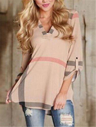 Moda Fiore Sciolto V T Maglietta Stampato Camicetta Elegante Beige Shirt 3 4 Collare Maglie Top a Donna Manica 54SFFnv