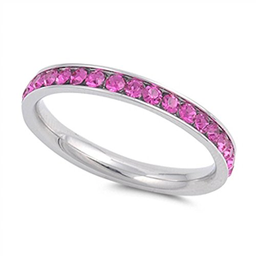 Simulated Ruby Eternity Band Stainless Steel Ring Size (Ruby Diamond Eternity Bands)
