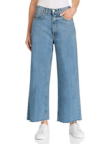 H HIAMIGOS Women Casual Loose Fit Bootcut Jeans Wide Straight Leg Frayed Hem (27, Dark -