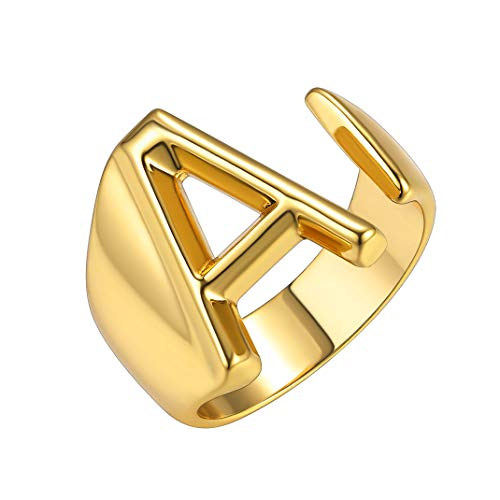 GoldChic Jewelry Personalized Gold Initial Letter Open Ring Adjustable Women Statement Rings Party|Women's Signet Ring|18K Gold Plated Open Alphabet Rings|Letter A to Z