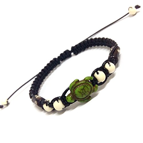 Nove Jewelry Leather Turtle Color Hemp Bracelet (Green)