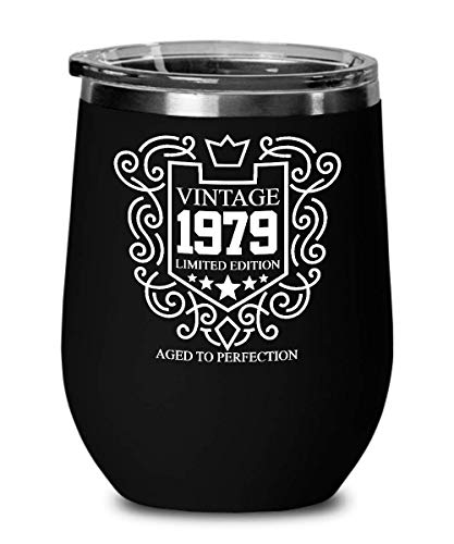 1979 40th Birthday Gifts for Women and Men Wine Glass Tumber - Aged To Perfection 12 oz Stainless Steel Wine Glass with Lid - 40 Years Old Vintage Monogram Insulated Black Cup Anniversary Gift Ideas (Glass Tumber)