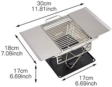 ZTBXQ Portable en Plein Air Barbecue Fumeur Accessoires en Acier Inoxydable BBQ Barbecue À Charbon De Bois Camping en Plein Air Pliant Portable Poêle De