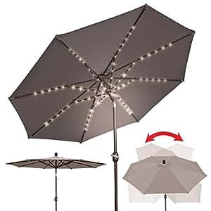 BenefitUSA 9'patio paraguas parasol sombrilla de jardín mercado al aire libre LED funciona con pilas con inclinación/manivela