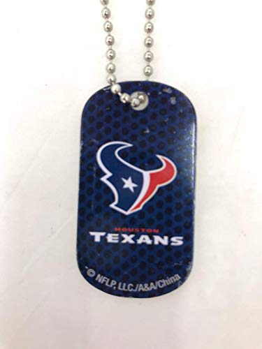Mirror Mania Houston Texans NFL Football Dog Tag Chain Personalized Free Engraved Custom Name On Back - a Chain, Keychain, Luggage tag, or Clip on Backpack or Bag.