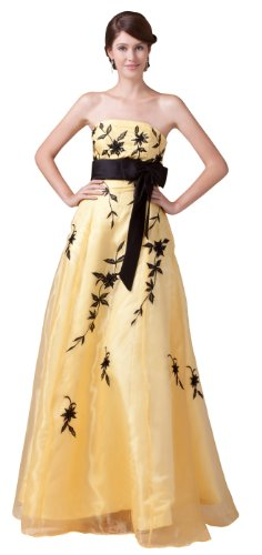 herafa p32053-8 Prom Dresses Elegant Strapless/Tube Sleeveless Embroidered Long 0 A-Line Yellow