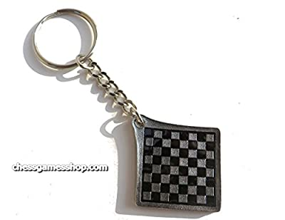 Chess metal keychains in 4 designs (king, queen, rook or knight) - chess board on the back