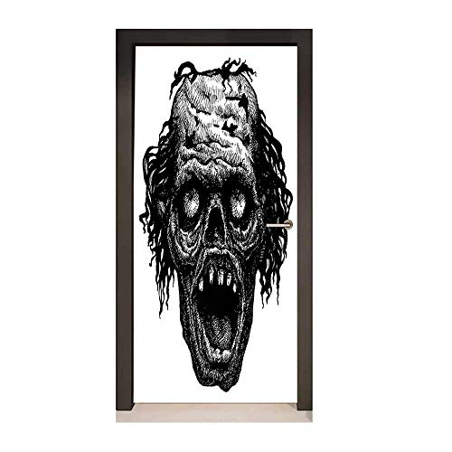 Halloween Decor Door Mural Zombie Head Evil Dead Man Portrait Fiction Creature Scary Monster Graphic Decor Door Mural Black Dark Grey,W17.1xH78.7 -
