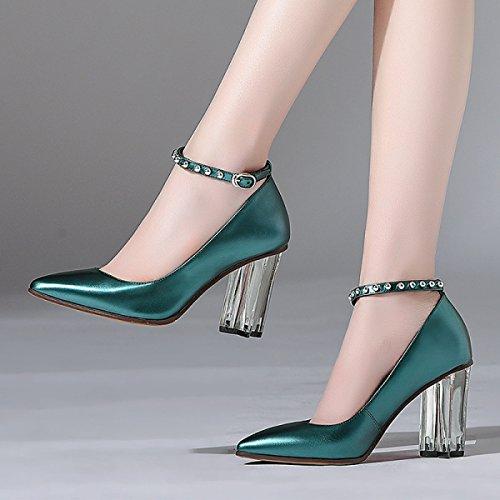 Rivets DKFJKI pour Chaussures Talons Cuir Simples Talons Boucles en Profilés Femmes Cristal Femmes Hauts Métalliques Cyan Chaussures Talons 6w6rHq1