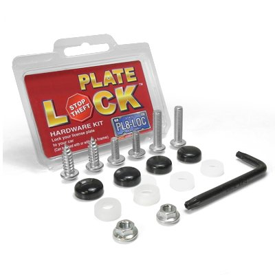 Auto License Plate and License Frame Black Lock Screw Hardware (Locking License Plate)