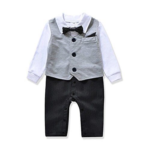 c6f0cacdd4f40 Cute Gentleman style Baby Boy's Romper & Vest & Bowtie 3 Pieces Clothes  Suit 2 Color (100(18-24months), Gray) - Buy Online in Oman. | Apparel  Products in ...
