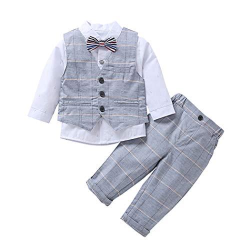 MetCuento Baby Boy Gentleman Bowtie White Shirt Waistcoat Tuxedo Onesie Jumpsuit Overall Romper