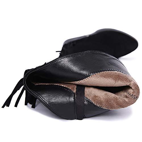 Tassels ELEHOT Toe Boots Black high Eleclock Knee Round Heel Leather Wedge Womens zwC6czqf