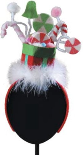 Christmas Candy Hat Feathered Fascinator Headband Hair Ac...