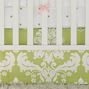(Serena and Lily Sprout Green Damask Crib Skirt)