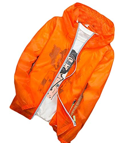 Tessuto In Con Antivento Men Yellow color Small Uomo Giacca Orange Antipioggia Jacket Home E Size Cappuccio Da qzq80X