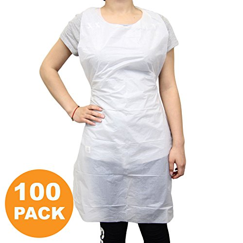 Disposable 24''x42'' Medium Waterproof Grease Resistant Poly Adult Women Men Bib Apron with Dispenser Box, White [100 Pack] by Fit Meal Prep