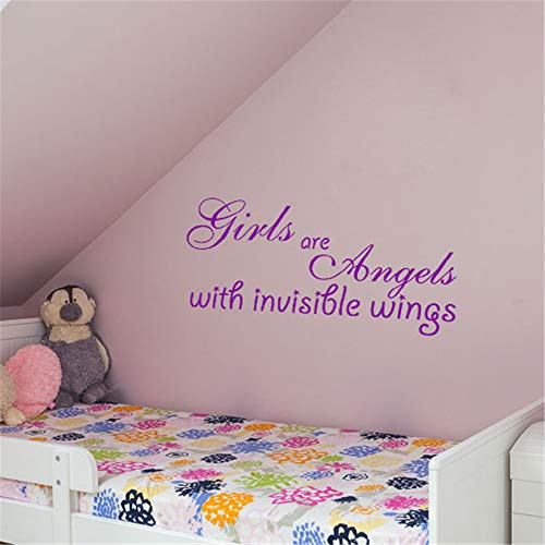 toguke Lettering Words Wall Mural DIY Removable Sticker Decoration Girls are Angels with Invisible Wings Wall Art Wall -