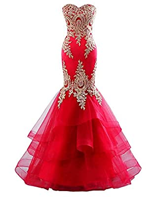 Changuan Mermaid Evening Dress for Women Backless Formal Long Prom Dresses with Embroidery