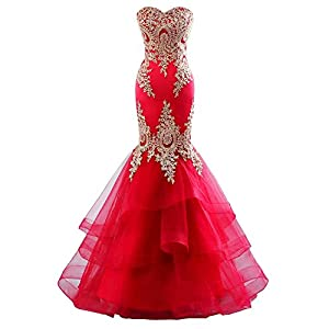 Changuan Women's Mermaid Evening Dress Backless Formal Long Prom Dress with Embroidery