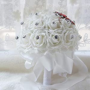 Luvier Artificial Dragonfly Shape Crystal Rose Wedding Bouquet for Bride Pink Rose Flowers Lace Ribbons Bridal Bridesmaid Bouquets for Wedding 22