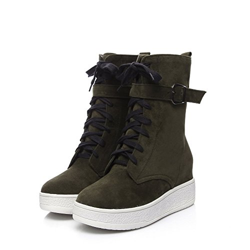 Allhqfashion Women's Solid Imitated Suede Kitten Heels Zipper Round Closed Toe Boots Armygreen Ls0o4PUnP