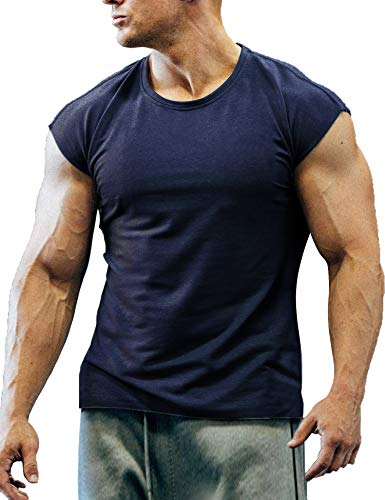 COOFANDY Men's Gym Workout T Shirt Short Sleeve Muscle Cut Bodybuilding Training Fitness Tee Tops (X-Large, 02-Navy Blue)